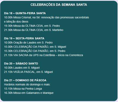 Celebrações Semana Santa 2019
